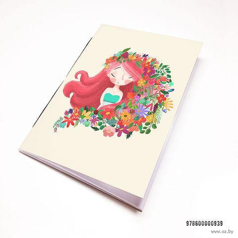 """Блокнот белый """"Девушка с цветами"""" А7 (939)"""