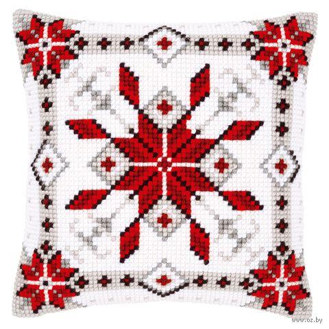 """Вышивка крестом """"Подушка. Снежинка"""" (400х400 мм; арт. 0146119-PN) — фото, картинка"""