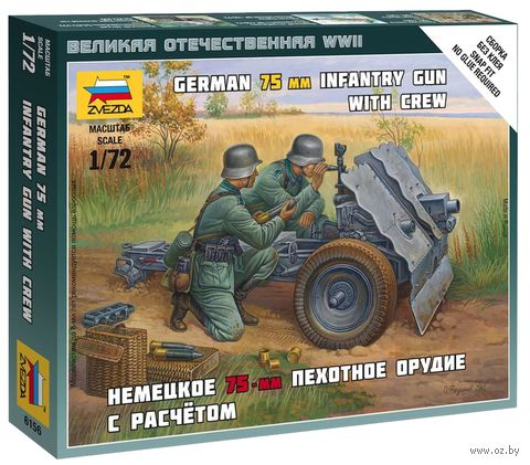 """Набор миниатюр """"Немецкое 75-мм пехотное орудие с расчетом"""" (масштаб: 1/72) — фото, картинка"""