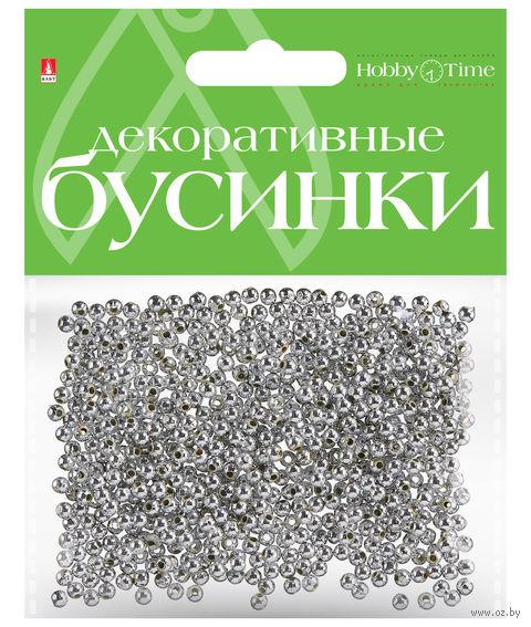 Набор бусин декоративных (3 мм; серебряные) — фото, картинка
