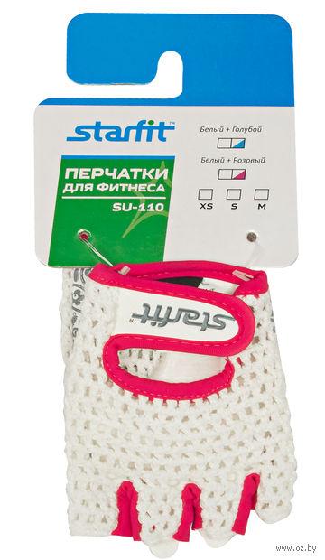 Перчатки для фитнеса SU-110 (XS; белые/розовые) — фото, картинка