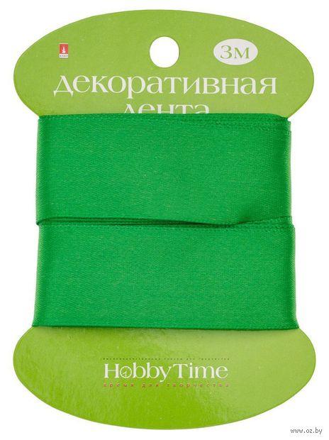 """Лента атласная """"Hobby Time"""" (зеленая; 25 мм; 3 м) — фото, картинка"""
