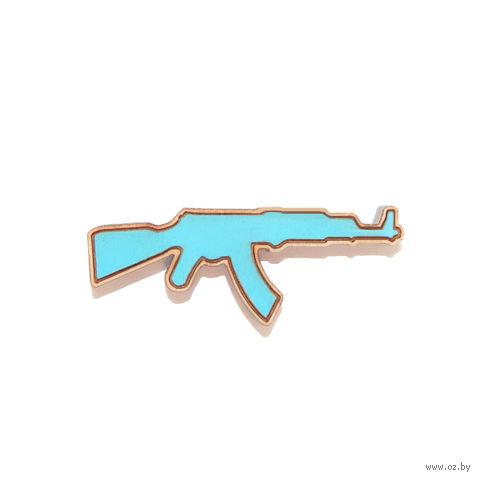 """Значок деревянный """"АК"""" (голубой)"""