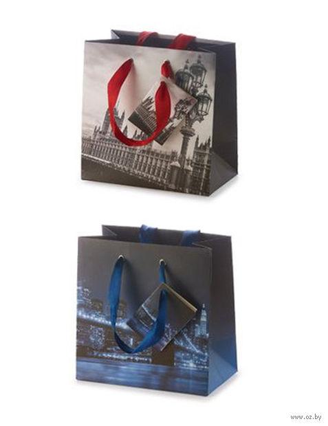 """Пакет бумажный подарочный """"Города"""" (16,5x16,5x9,2 см) — фото, картинка"""