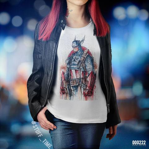 "Футболка женская ""Капитан Америка"" XS (222)"