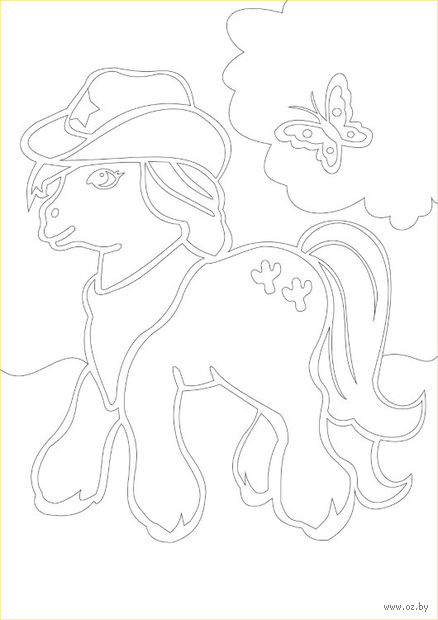 """Трафарет для рисования песком """"Пони в шляпе"""" (А4)"""