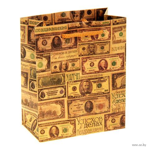 """Пакет бумажный подарочный """"Деньги"""" (11х14х6 см; арт. 10772306)"""