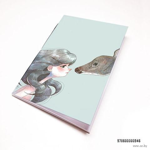"""Блокнот белый """"Девушка с оленем"""" А7 (946)"""