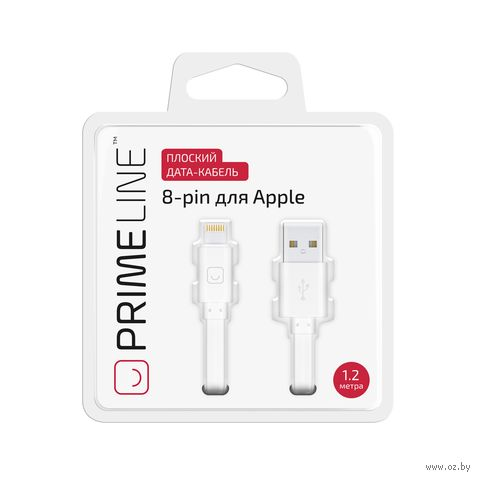 Кабель Prime Line 7214 Lighting USB - 8-pin (белый) — фото, картинка