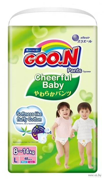 """Подгузники-трусики """"Goo.N. Сheerful Baby"""" (8-14 кг; 48 шт.) — фото, картинка"""
