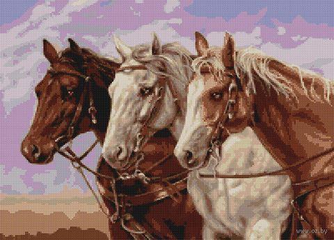 """Алмазная вышивка-мозаика """"Тройка лошадей"""" (500х360 мм) — фото, картинка"""