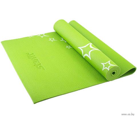 Коврик для йоги FM-102 (173x61x0,3 см; зелёный с рисунком) — фото, картинка