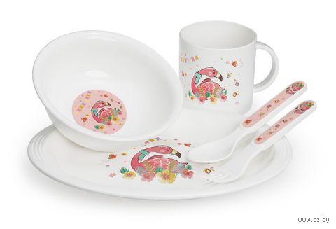 Набор посуды (тарелка, миска, кружка, ложка, вилка) — фото, картинка