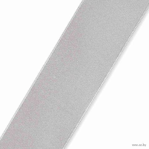 Лента атласная 06 (38 мм; 25 м; серебро) — фото, картинка