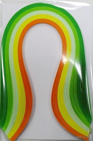 Бумага для квиллинга (300х3 мм; оттенки зеленого и желтого; 100 шт)