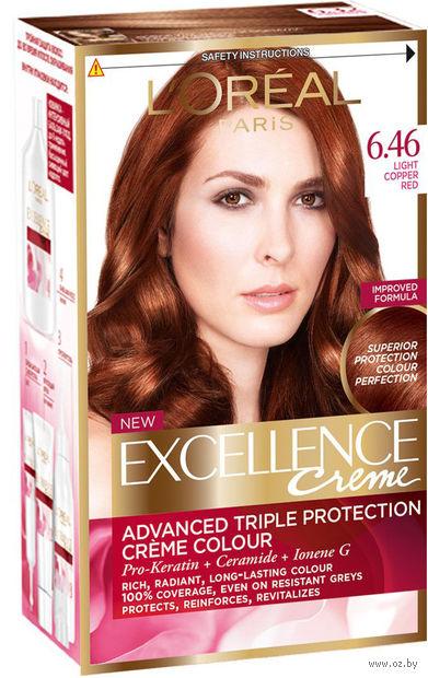 """Крем-краска для волос """"Excellence"""" тон: 6.46, медный темно-русый — фото, картинка"""