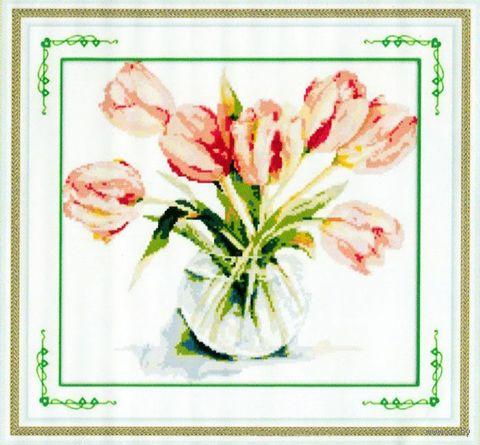 """Алмазная вышивка-мозаика """"Букет тюльпанов"""" (450х430 мм) — фото, картинка"""