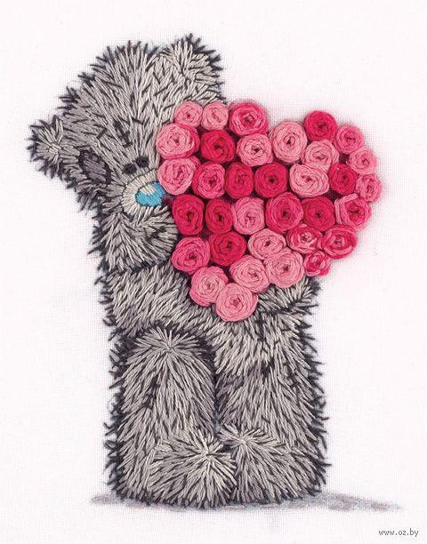 """Вышивка гладью """"Tatty Teddy с сердцем из роз"""" (120х155 мм) — фото, картинка"""