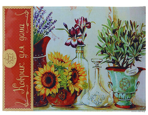 """Коврик для входной двери """"Цветы в кувшинах"""" (60х45 см, арт. 37363) — фото, картинка"""