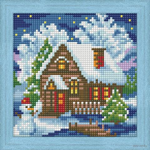 "Алмазная вышивка-мозаика ""Зимний домик"" (150х150 мм) — фото, картинка"