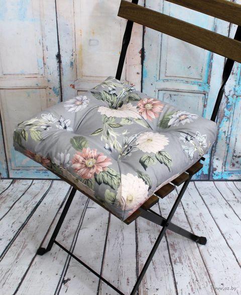 "Подушка на стул ""Concept. Цветы на Сером"" (40х40 см) — фото, картинка"