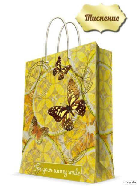 """Пакет бумажный подарочный """"Лимонные бабочки"""" (17,8х22,9х9,8 см; арт. 43513) — фото, картинка"""