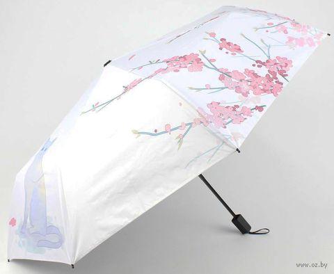 """Зонт складной механический """"Кот и сакура"""" — фото, картинка"""