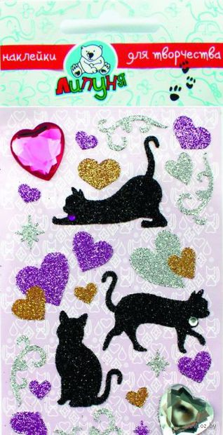 "Наклейки блестящие ""Кошки с сердцами"""