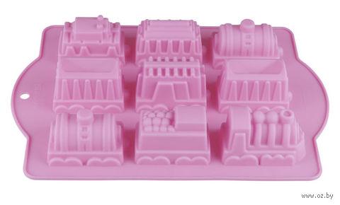 """Форма силиконовая для выпекания """"Паровозики"""" (340х240x50 мм; лиловая) — фото, картинка"""