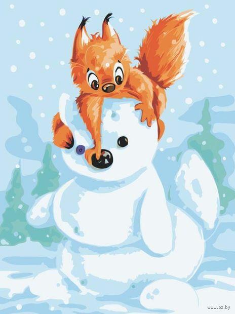"Картина по номерам ""Белка и снеговик"" (300х400 мм) — фото, картинка"