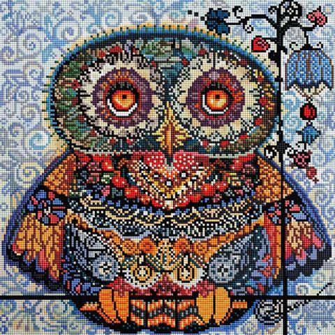 """Алмазная вышивка-мозаика """"Волшебная сова"""" (400х400 мм) — фото, картинка"""
