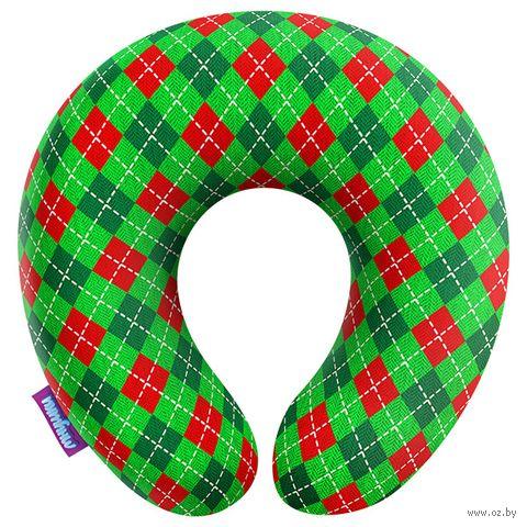 """Подушка под шею """"Рождество у бабушки. Клетка №1"""" (29х29 см) — фото, картинка"""