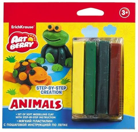 "Пластилин ""Animals. Step-by-step Сreation"" (4 цвета)"