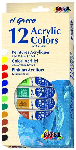 """Набор глянцевых акриловых красок """"El Greco"""" (12 цветов х 12 мл)"""