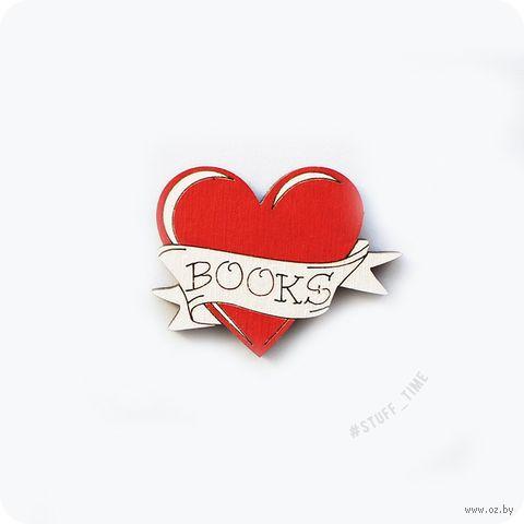 """Мини-брошка деревянная """"Любовь к книгам"""" (арт. 515) — фото, картинка"""