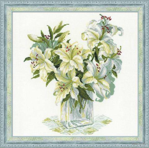 "Вышивка крестом ""Белые лилии"" (450х450 мм) — фото, картинка"