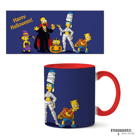 "Кружка ""Хэллоуин Симпсоны"" (красная) — фото, картинка"