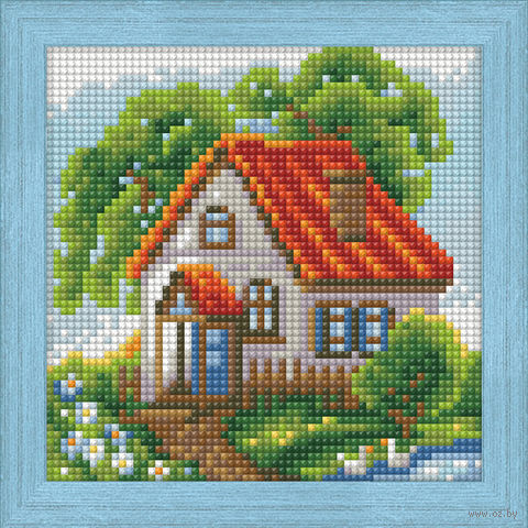 "Алмазная вышивка-мозаика ""Летний домик"" (150х150 мм) — фото, картинка"