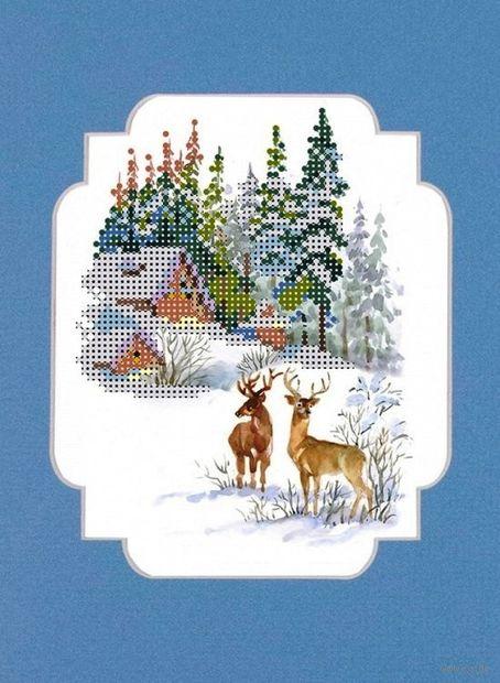 "Вышивка бисером ""Зимние гости"" (120х150 мм) — фото, картинка"