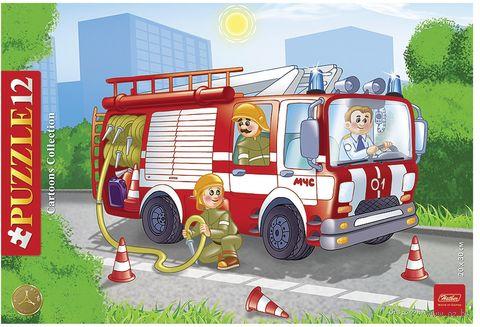 "Пазл-рамка ""Пожарная машина"" (12 элементов) — фото, картинка"