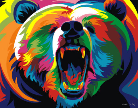 "Картина по номерам ""Радужный медведь"" (165х130 мм) — фото, картинка"