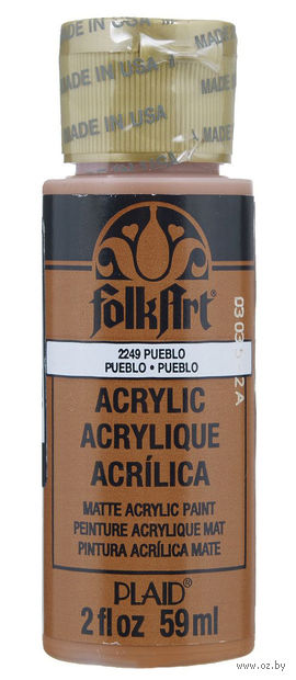 "Краска акриловая ""FolkArt. Acrylic Paint"" (коричневый пуэбло; 59 мл; арт. PLD-02249) — фото, картинка"