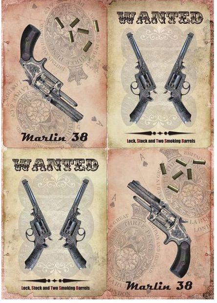 """Бумага для декупажа рисовая """"Револьверы"""" (210х300 мм)"""