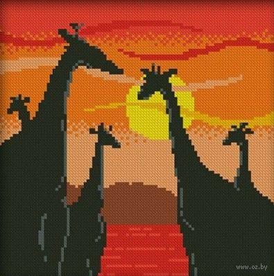 """Алмазная вышивка-мозаика """"Жирафы"""" (250х250 мм) — фото, картинка"""