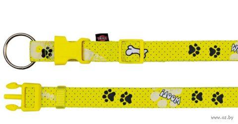 """Ошейник нейлоновый для собак """"Modern Art Collar Woof"""" (размер M-L, 35-55 см, желтый, арт. 15191)"""