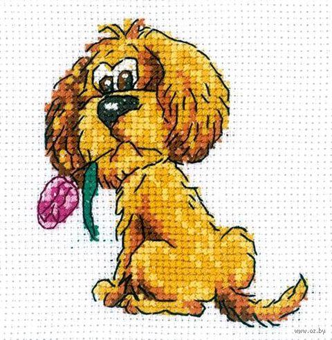 """Вышивка крестом """"Собачка с цветочком"""" (100x100 мм) — фото, картинка"""