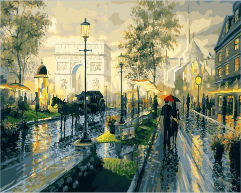 "Картина по номерам ""Прогулка под дождем"" (400х500 мм; цветной холст)"