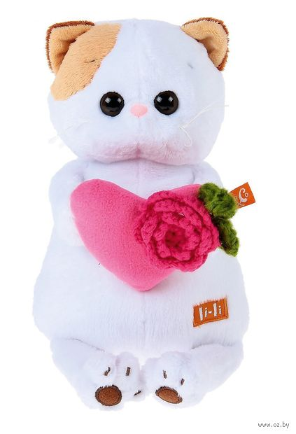 "Мягкая игрушка ""Кошечка Ли-Ли с розовым сердечком"" (24 см) — фото, картинка"