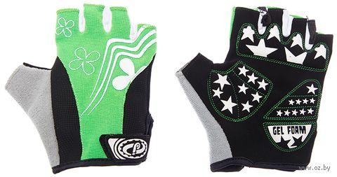 """Перчатки велосипедные """"SCG 47-0122"""" (S; чёрно-бело-зелёные) — фото, картинка"""