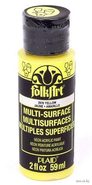 """Краска акриловая """"FolkArt Multi-Surface"""" (желтый неон; 59 мл; арт. PLD-02976) — фото, картинка"""
